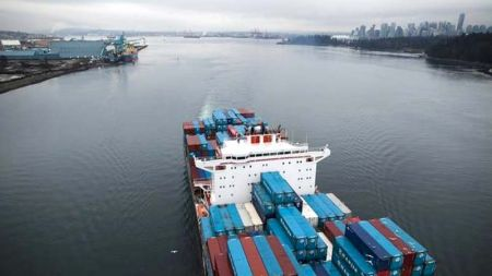 Container Ship Under the Lions Gate Bridge