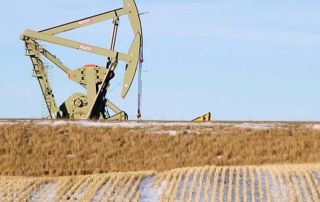 An oil pumpjack operates near Williston, North Dakota